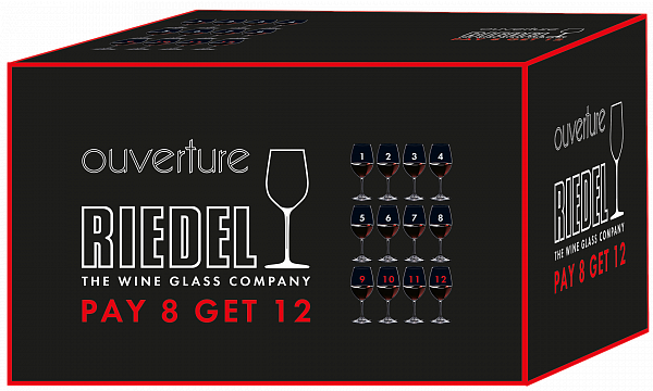 "Riedel Ouverture Red Wine ""Pay 8 Get 12"" (12 glasses set)"